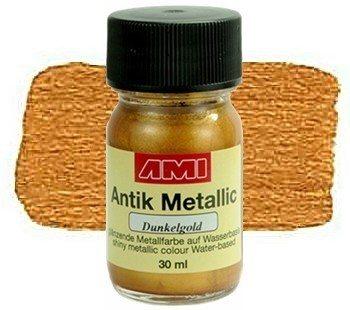 Antik Metallicfarbe 30 ml Dunkelgold