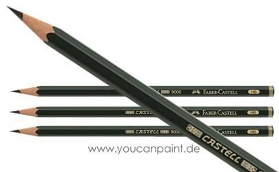 Bleistift Castell 9000 von 8B bis 6H Härtegrad auswählen Faber-Castell